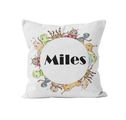 Throw Pillow Cover, Personalized, Bug Buddies, MADE TO ORDER, Pillow, [Ziya Blue]