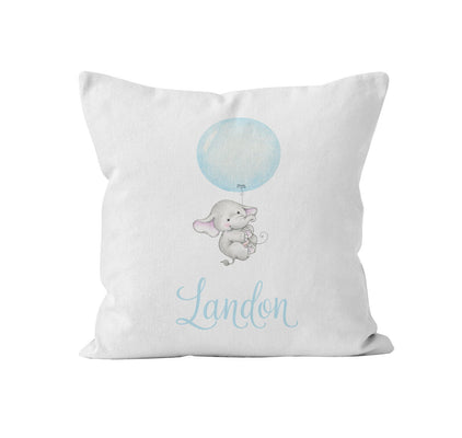 Throw Pillow Cover, Personalized, Fly High Baby Elephant, MADE TO ORDER, Pillow, [Ziya Blue]