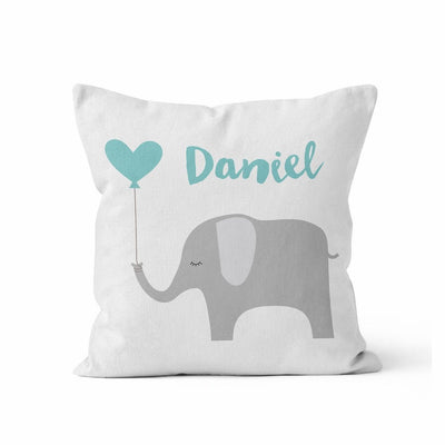 Throw Pillow Cover, Personalized, Blue Balloon Elephant, MADE TO ORDER, Pillow, [Ziya Blue]
