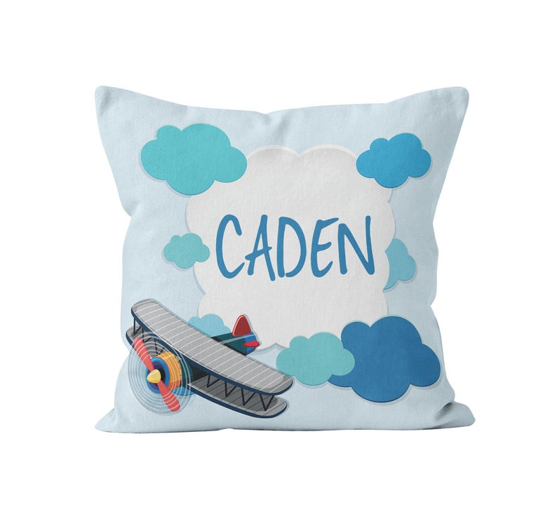 Throw Pillow Cover, Personalized, Biplane, MADE TO ORDER, Pillow, [Ziya Blue]