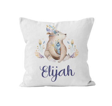 Throw Pillow Cover, Personalized, Boho Bear w/feathers, MADE TO ORDER - Ziya Blue