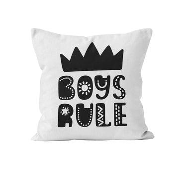 Throw Pillow Cover, Boys Rule, Black, Nursery Pillow, [Ziya Blue]