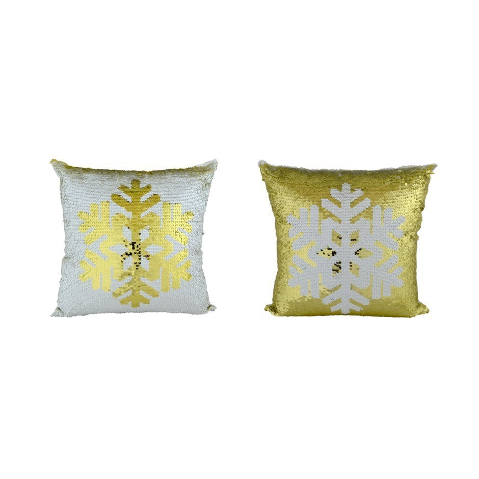 Cushion Snowflake Gold/White