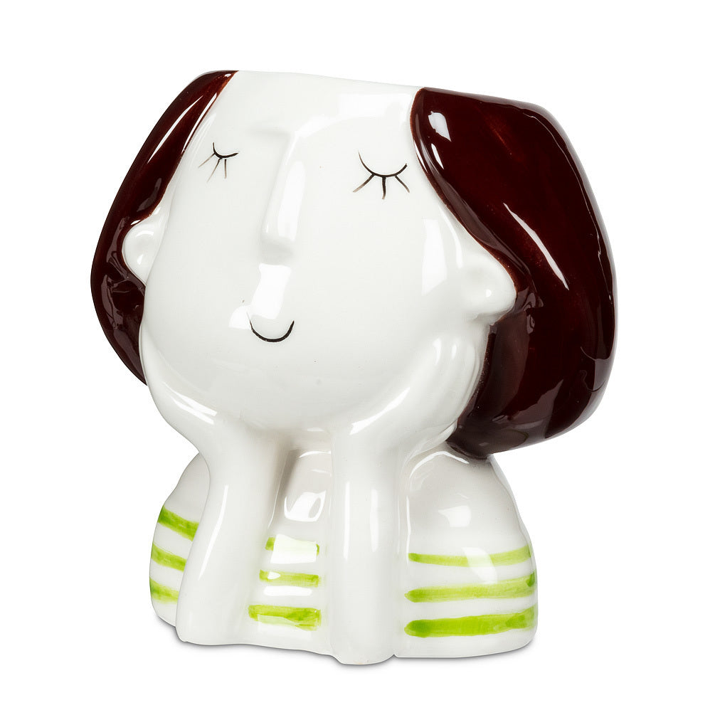 Sm Girl w/Grn Stripes Planter - 3.5""