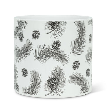 "Large Pinecone & Branch Planter - 6.5""D"