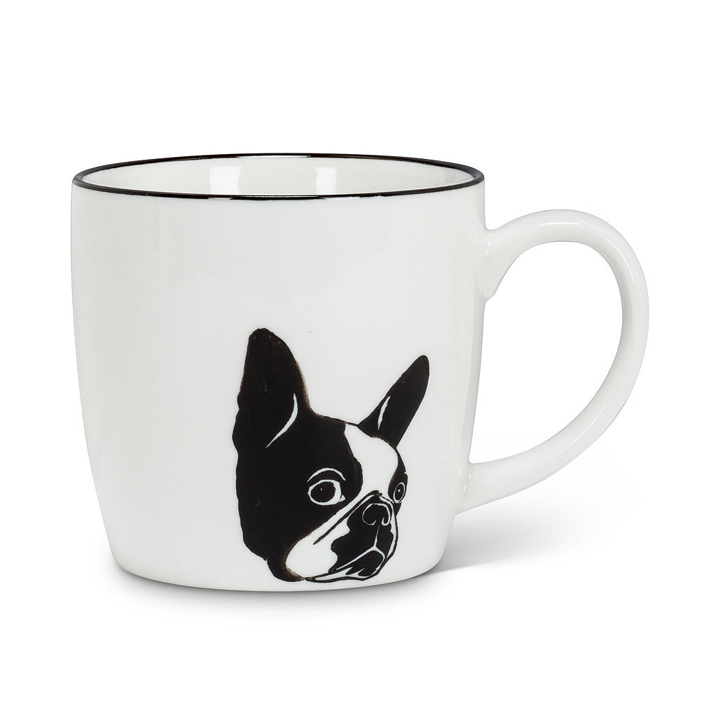"Blk/Wht Dog Face Mug 3""H 10oz"