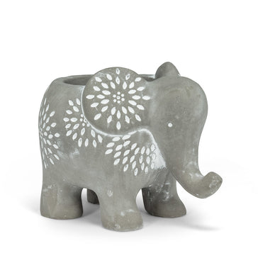 "Small Elephant Planter Grey 4""H"