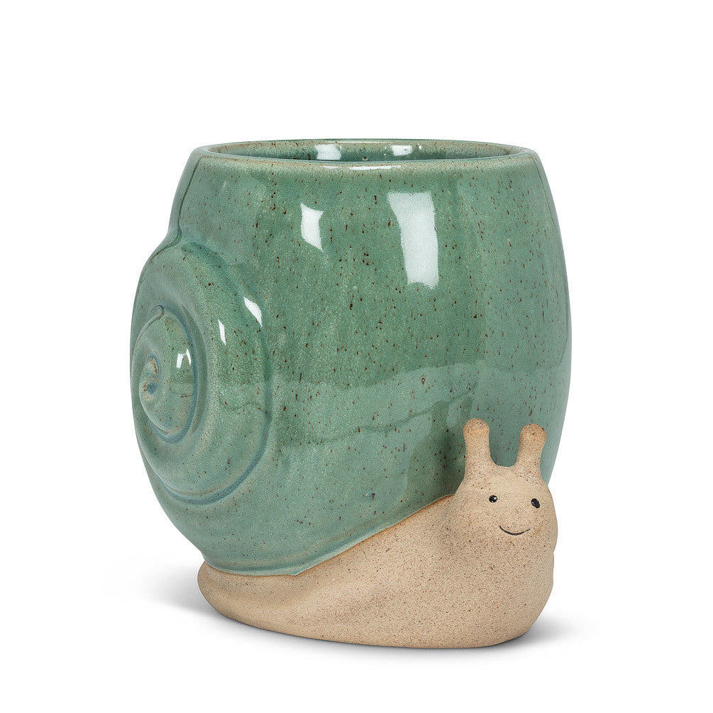 "Tall Turquoise Snail Planter - 5""H"