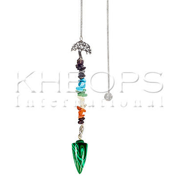 Chakras Pendulum - Tree Reconstituted Malachite