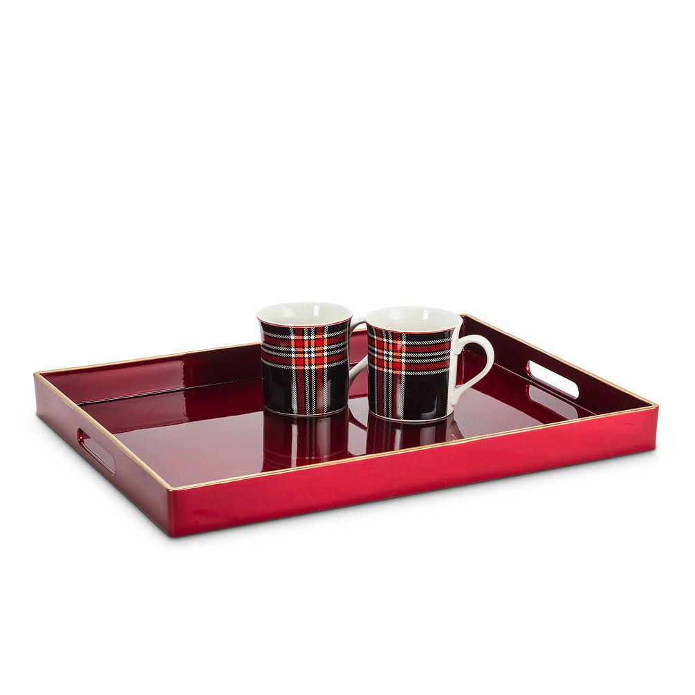 "Deep Red with Gold Rect Tray 14x19""L (CURBSIDE PICKUP ONLY)"