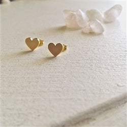"""Total Eclipse of the Heart"" Heart Stud Earrings in Gold"