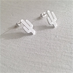 """High Noon"" Saguaro Cactus Stud Earrings in Matte Silver"