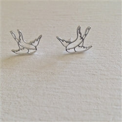"""Swoop"" Swallow Earrings In Silver"