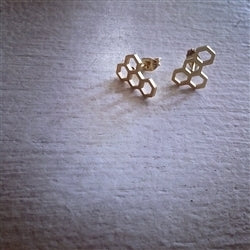 Pollen Honeycomb Design Stud Earrings In Gold