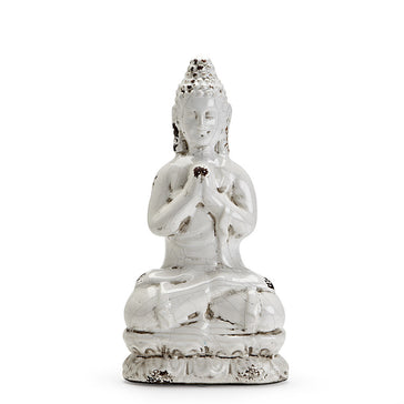 Small Sitting Buddha Figure White
