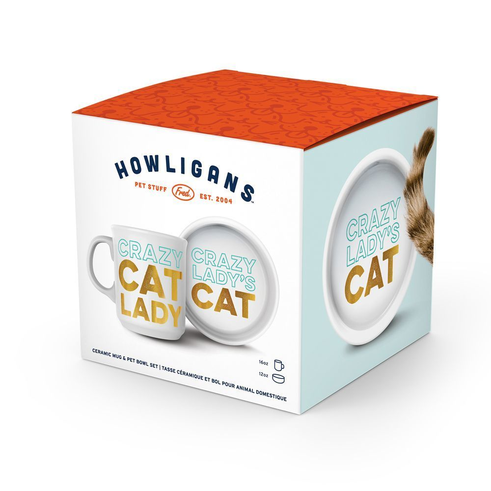Howligans - MUG + CAT BOWL (CRAZY CAT LADY)