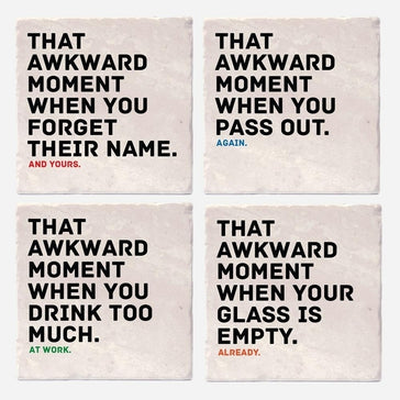 Awkward Moments While Drinking Coasters - Set of 4