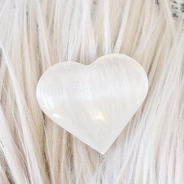 "White Selenite 1 3/4"" Small Heart"