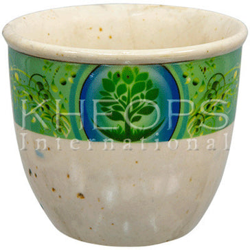 "Smudge Pot Ceramic - Tree of Life White 5""Dx4""H"