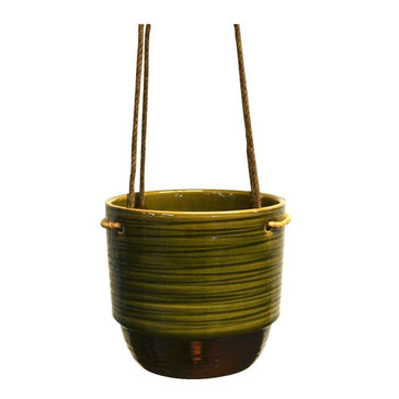Suspended Pot Striped Green 17.5 x17.