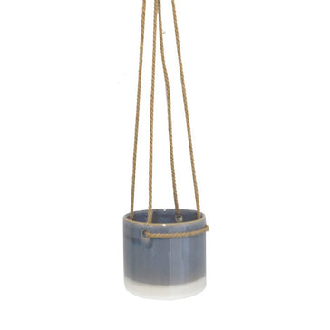 Hanging Pot Vintage Blue Ceramic