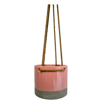 Hanging Pot Vintage Pink Ceramic