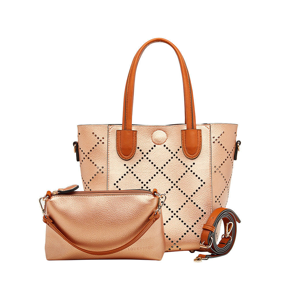 Louenhide Baby Bermuda Tote 2in1 - Rose Gold, Purse, [Ziya Blue]