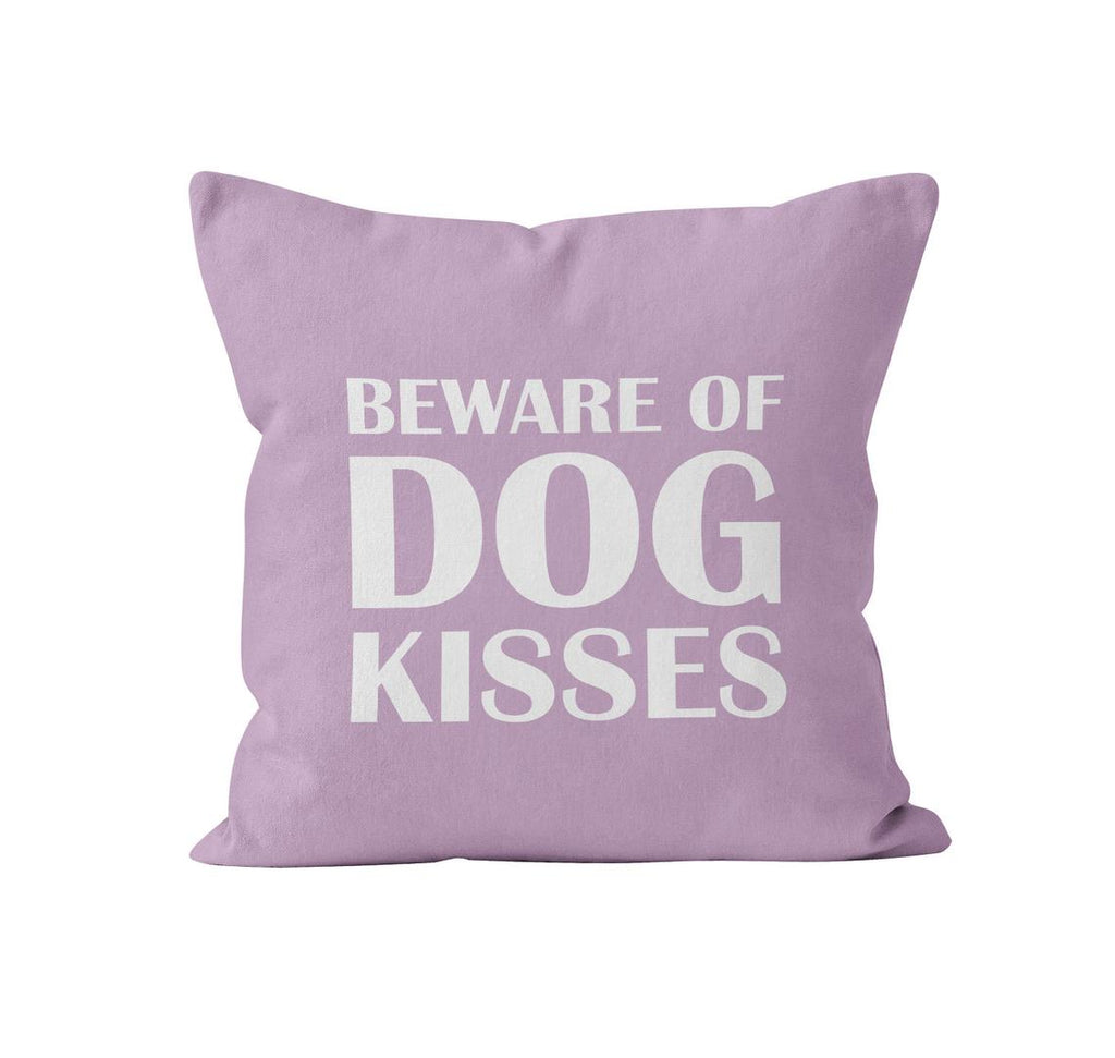 Throw Pillow Cover, Beware of Dog Kisses, Custom Colour, MADE TO ORDER, Pillow, [Ziya Blue]
