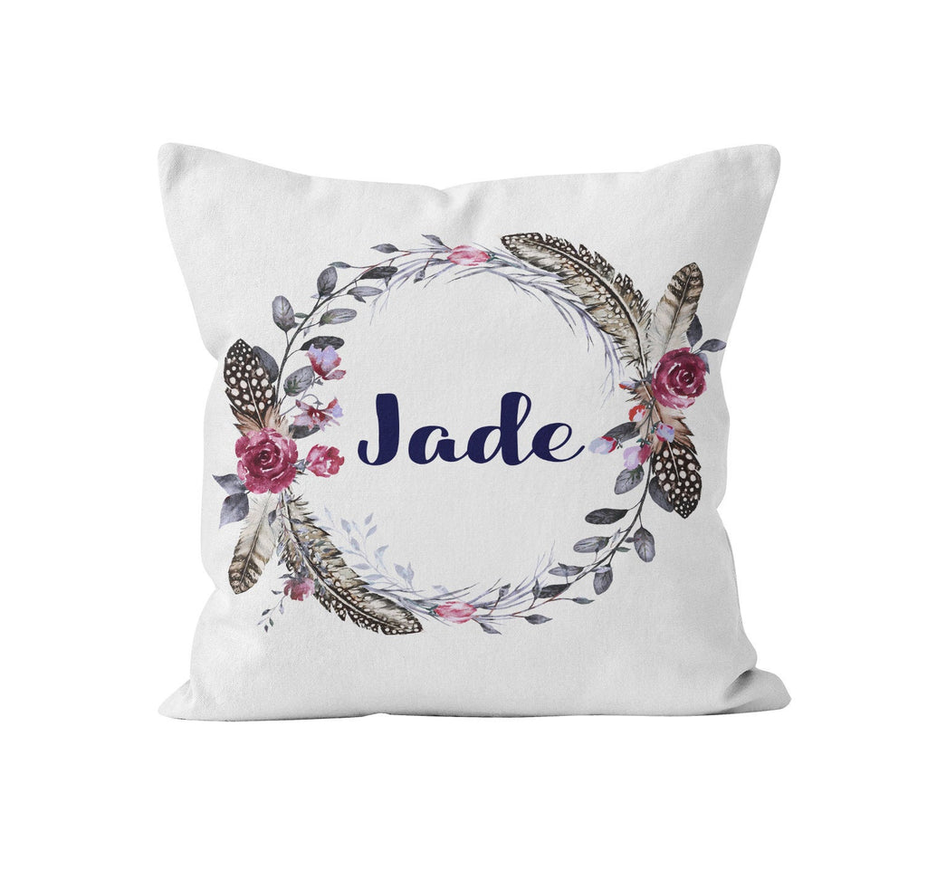 Throw Pillow Cover, Personalized, Boho Feather Wreath, Nursery Pillow, [Ziya Blue]