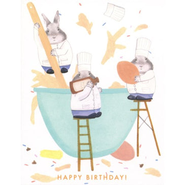 Card: Bunnies Making Cake, Card, [Ziya Blue]