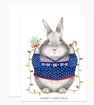Card: Bunny Christmas Sweater, Card, [Ziya Blue]