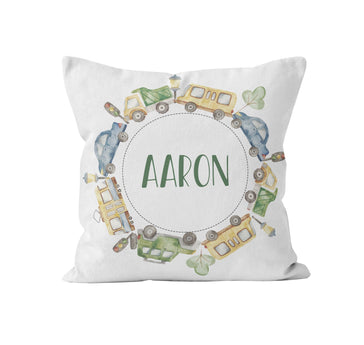 Throw Pillow Cover, Personalized, Blue Green Cars, MADE TO ORDER - Ziya Blue