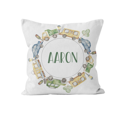 Throw Pillow Cover, Personalized, Blue Green Cars, MADE TO ORDER, Pillow, [Ziya Blue]