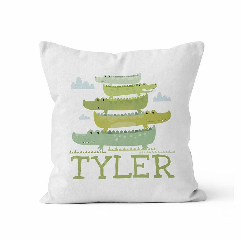 Throw Pillow Cover, Personalized, Crocodile Tower, MADE TO ORDER, Pillow, [Ziya Blue]