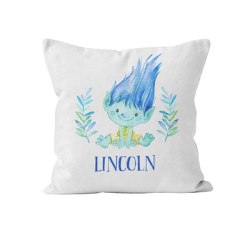 cute blue troll personalized throw pillow
