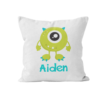 Throw Pillow Cover, Personalized, Little Green Monster, MADE TO ORDER - Ziya Blue