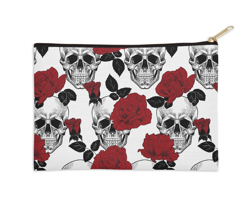 Accessory Pouch,  Skull and Red Roses by Ziya Blue