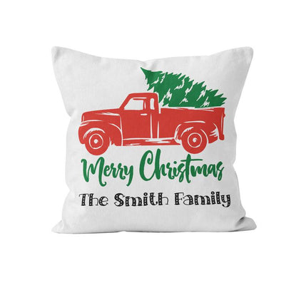 Throw Pillow Cover, Personalized, Merry Christmas Truck w/ Family Name, MADE TO ORDER, Pillow, [Ziya Blue]