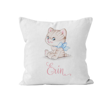 Throw Pillow Cover, Personalized, Cute Kitten