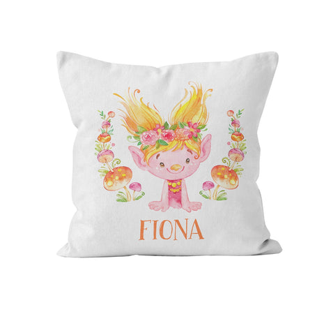 Throw Pillow Cover, Personalized, Cute Orange Troll