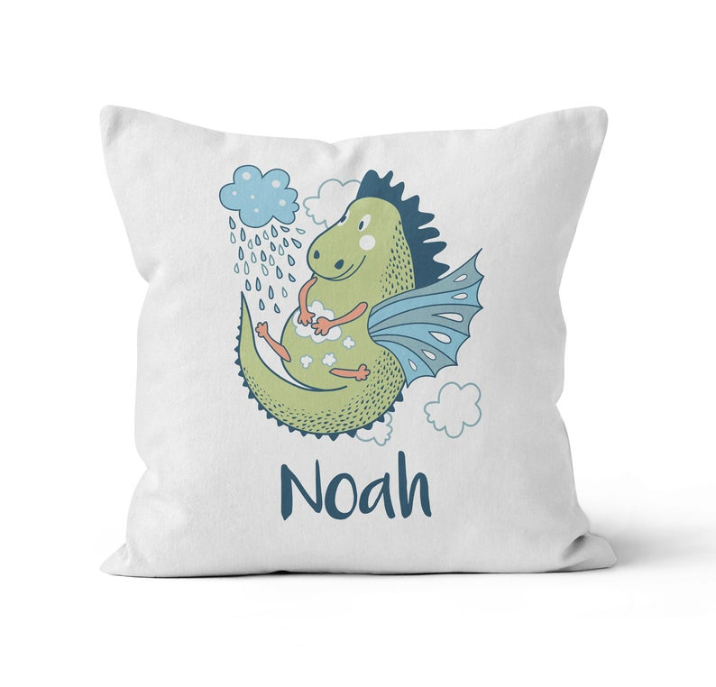 Throw Pillow Cover, Personalized, Cute Dragon, MADE TO ORDER, Pillow, [Ziya Blue]