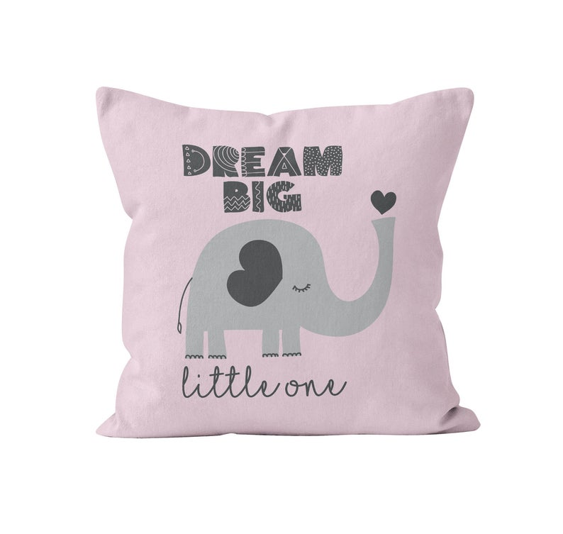 Throw Pillow Cover, Dream Big Little One, Pink & Grey Elephant, MADE TO ORDER, Nursery Pillow, [Ziya Blue]