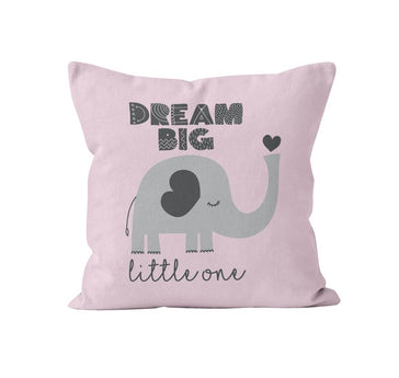 Throw Pillow Cover, Dream Big Little One, Pink & Grey Elephant