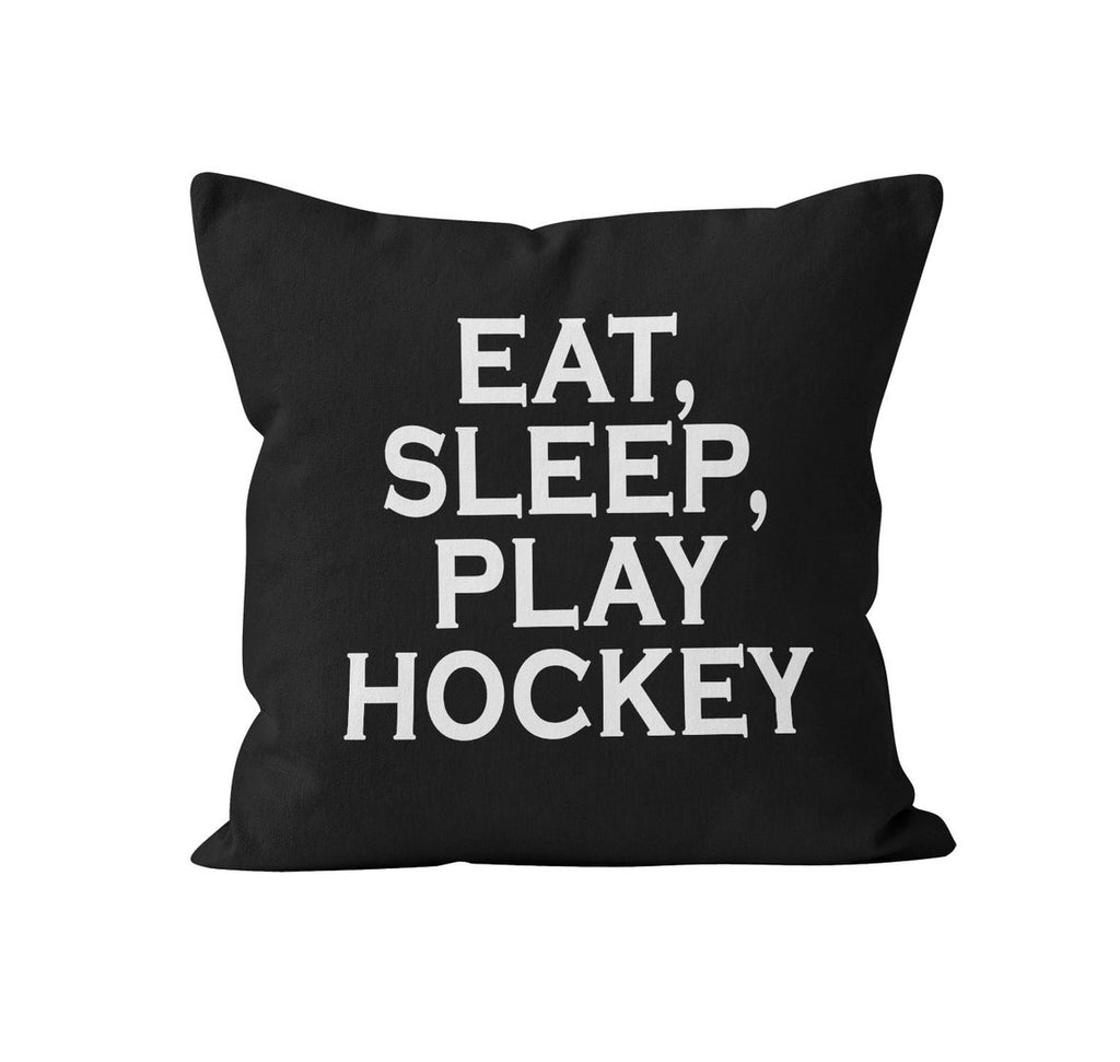 Throw Pillow Cover, Eat, Sleep, Play Hockey, Custom Color, MADE TO ORDER