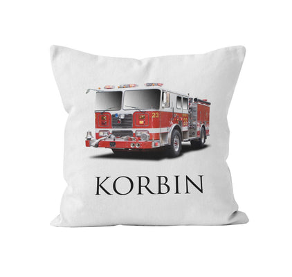 Throw Pillow Cover, Personalized, Firetruck, MADE TO ORDER, Pillow, [Ziya Blue]