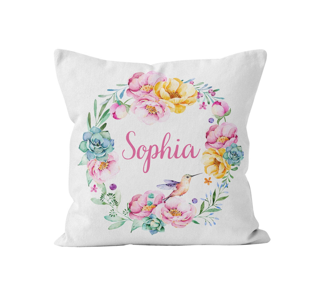 Throw Pillow Cover, Personalized, Floral Wreath, Lush Yellow & Pink Peonies, Nursery Pillow, [Ziya Blue]