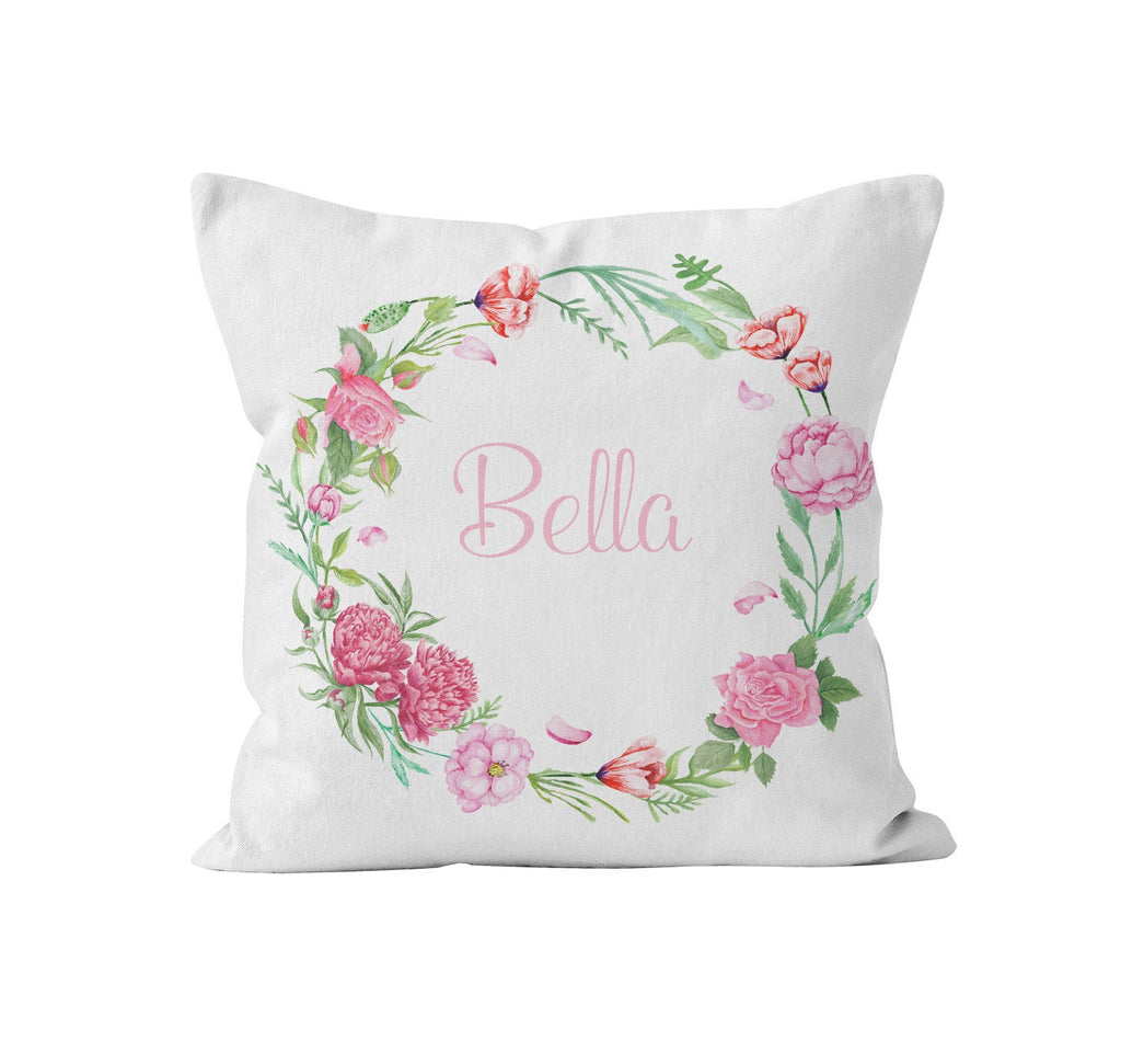 personalized throw pillow cover soft pink floral