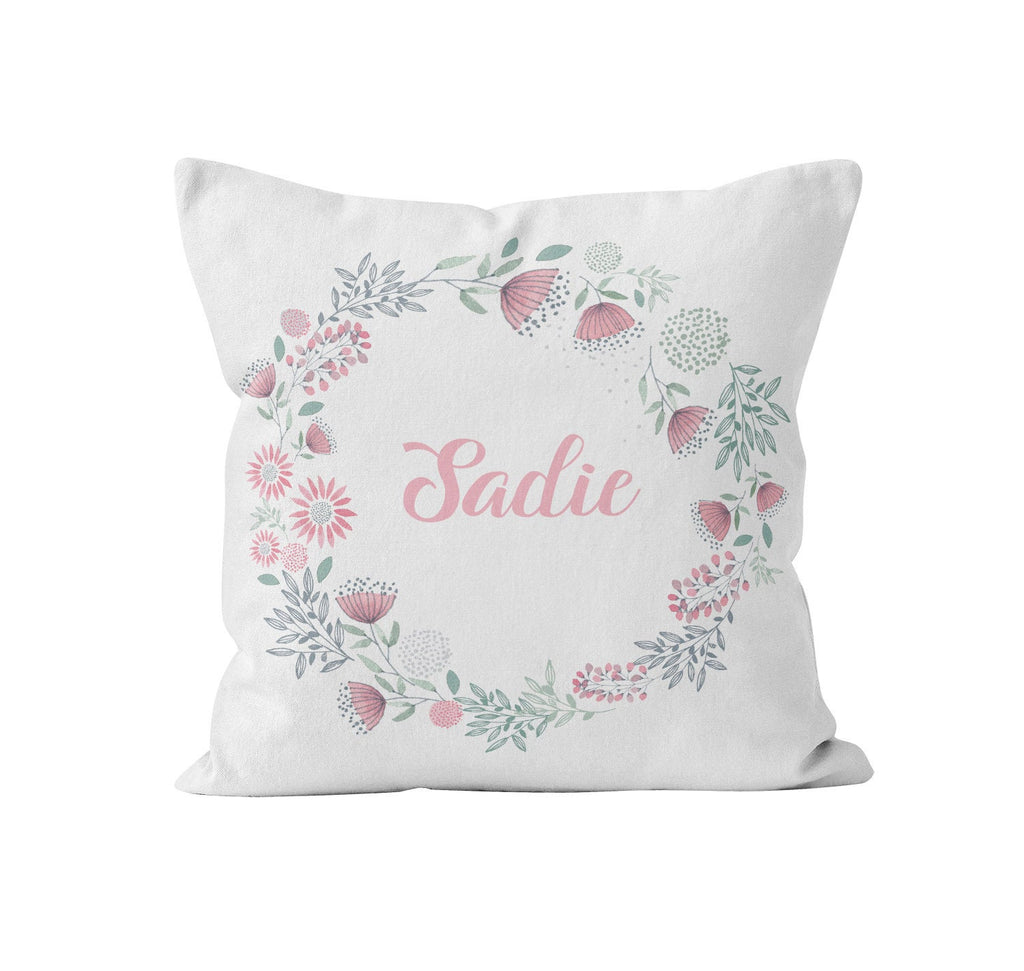 Throw Pillow Cover, Personalized, Floral Wreath, Wildflowers, Nursery Pillow, [Ziya Blue]