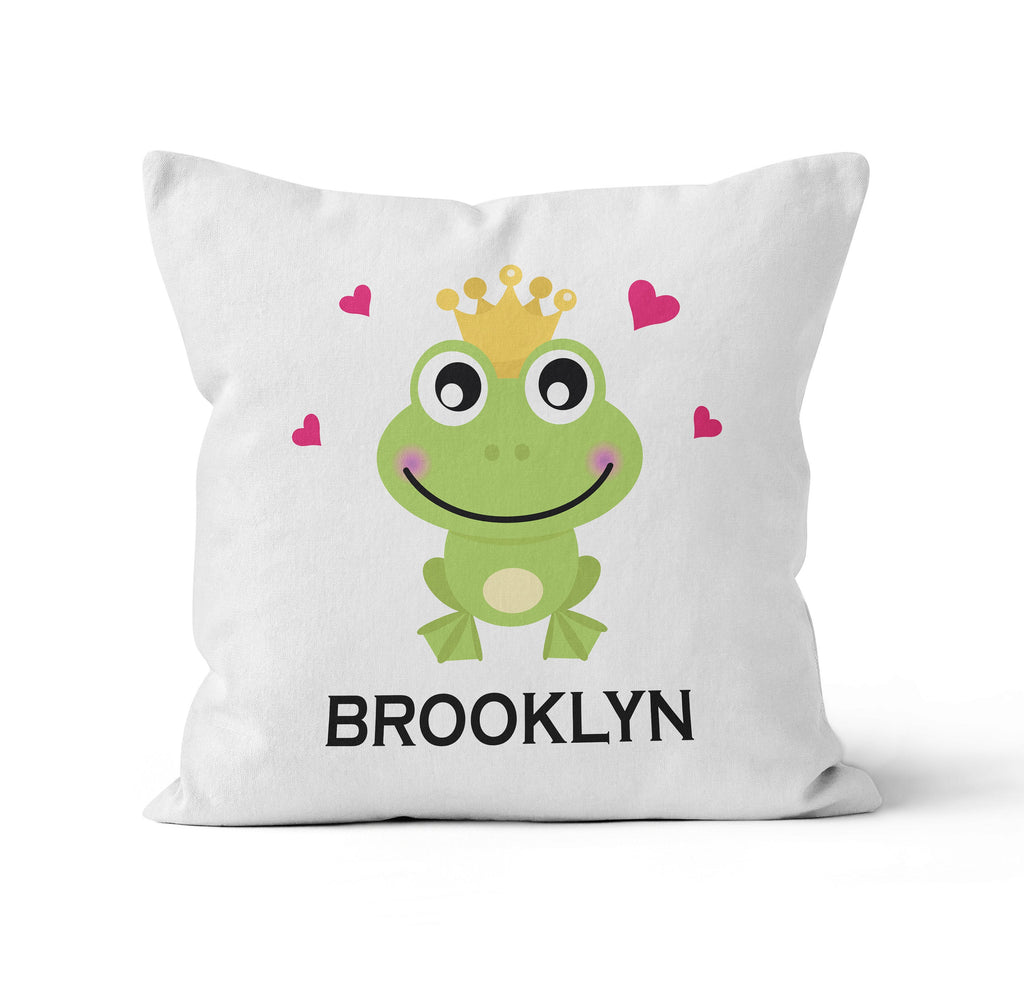 Throw Pillow Cover, Personalized, Happy Frog King, Nursery Pillow, [Ziya Blue]