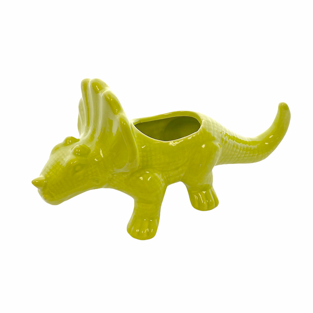 Ceramic Lime Green Triceratops Planter